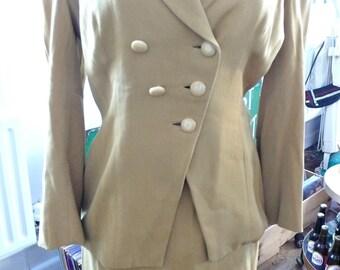 1940s Film Noir Mustard  Gaberdine Striking Suit UK 10