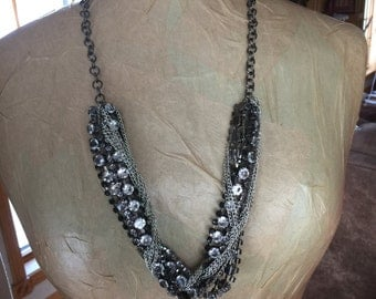 Gunmetal chain long necklace with crystals and gunmetal beads one of a kind