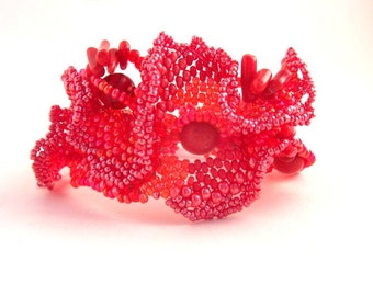 Gift for women, Red bracelet, Red jewelry, Beaded jewelry, Boho bracelet, Red cuff, Freeform beadwork, Red beaded bracelet