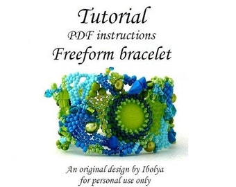 SALE PDF tutorial, Beading pattern tutorial instructions, Freeform beaded cuff bracelet tutorial, digital download, Freeform beading tutoria