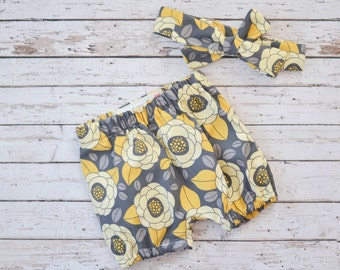 Baby and Toddler Bloomers Shorts Diaper Cover and Matching Headband Set in Yellow and Gray Flowers