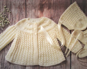 Newborn baby's infant girls boys traditional handknitted cream lacy lace matinee jacket and bonnet with booties pram outfit set