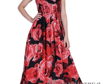 Maxi Dress Red Floral Dress Women Dress Plus Size Clothing Dress Summer Sundress Casual Chiffon Long Cruise Graduation Women Teen Girls Sexy