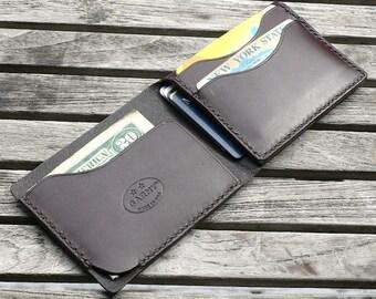 Mens Wallet, minimalist leather wallet, men's wallet, simple wallet,  handmade wallet, leather wallet, dark brown color  leather, garny No.4