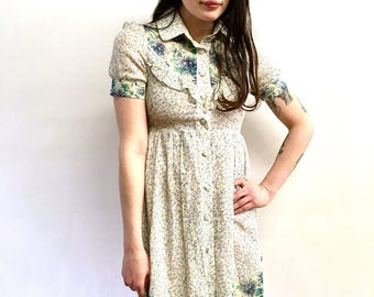 Vintage 70s Floral Mixed Print Dress Blues and Pinks