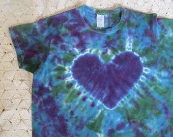 Tie dye shirt- Adult women's style XL tee; Purple heart