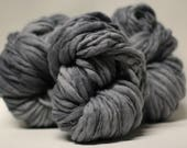 Hand Spun Thick and Thin Yarn Bulky Wool Slub  Hand Dyed tts(tm) Grey