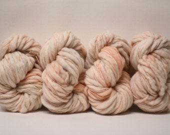 Merino Thick and Thin Yarn Merino Bulky Hand Spun Wool Slub  Hand Dyed tts(tm) Pale Pink