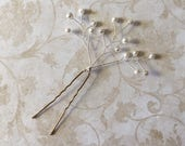Swarovski Pearl Baby's Breath Hair Pin Spray for Weddings, Prom or Special Occasions