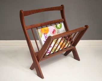 Vintage Wooden Folding Magazine Rack
