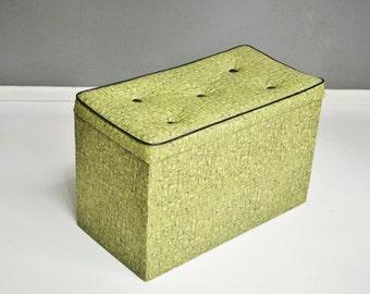 Mid-Century Lime Green Geometric Vinyl Storage Trunk