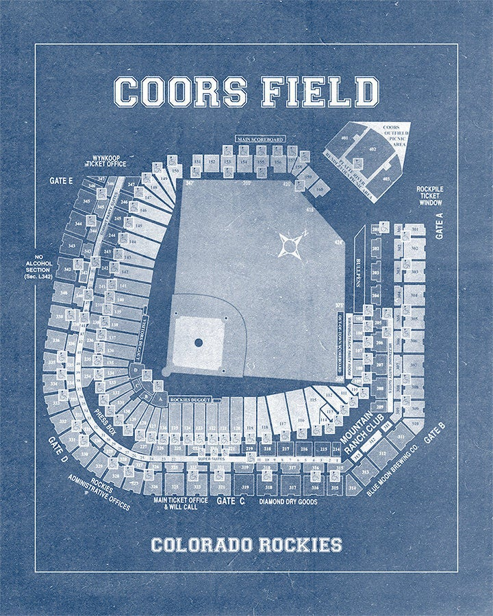 Vintage print of coors field seating chart colorado rockies baseball vintage print of coors field seating chart colorado rockies baseball blueprint on photo paper matte paper or stretched canvas malvernweather Image collections