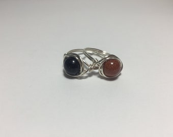 Choose Your Stone/Glitterly Blue or Goldstone Ring/Natural Jewelry/Choose Size/Boho/Sparkle/Starry Night Sky/Gold/Copper/Red/Navy/Gift