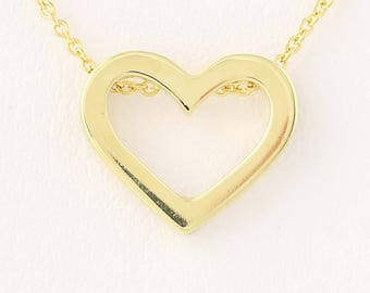 Heart Pendant Necklace - 18k Yellow Gold Ruby Accent N8471