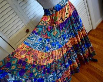 Vintage Psychedelic Maxi Skirt S M Patchwork Highwaist Hippie Gypsy Bohemian Tribal Native Folk Art Festival Hipster Mod Resort Beach Boho