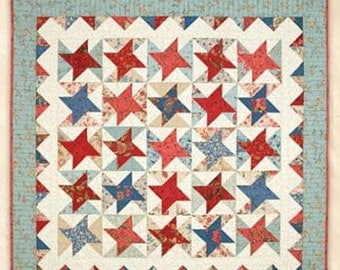 "SALE Schnibbles, Mon Ami  Quilt Pattern, RQC 450 by Miss Rosie's Quilt Co, 33""x33"", Patriotic Feel, Stars"