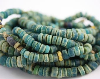 Blue Green Excavated Ancient Glass Medium Sized Nila Beads, Mali, Rita Okrent Collection (AT0626)