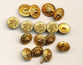 """Antique  Vintage Gold Colored  Button Lot of 16 - 5/8 to 11/16"""" ca. 1900"""
