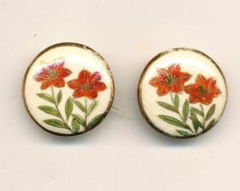 Antique Vintage Satsuma Buttons - Matching Pair ca. 1960's