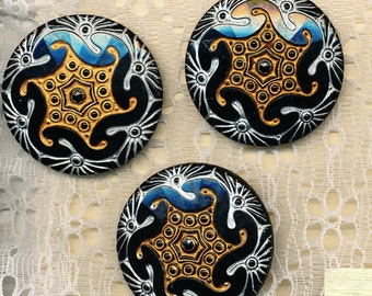 Large Czech Glass Buttons - Lot of 3 Black Glass with Gold and Silver Luster