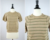 SALE Vintage tan and green striped short sleeve sweater