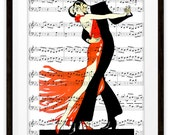 Vintage Tango Dancers Illustration Music Wall Art Print, Home & Living, Home Decor, Gift Ideas, Ballroom Dancers, Dancer Gift
