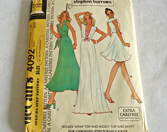 McCall's 4092 Sewing Pattern Stephan Burrows Wrap Top, Middy Top and Skirt  Size 10 Uncut