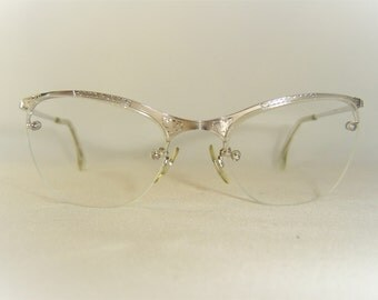 Vintage '50's Shuron USA Eyeglasses, Silver w/Engraved Accents, Rimless Drill Mount, NOS