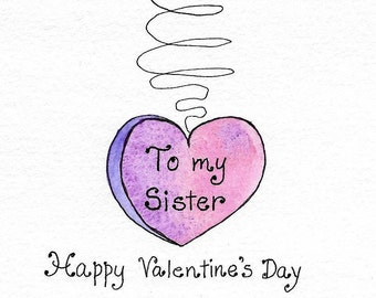 Valentine For Sister Happy Valentineu0027s Day Sister Original Watercolor  Greeting Card Heart On A String Hand