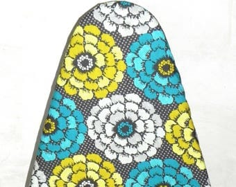 Tabletop Ironing Board Cover - Floral in Teal, yellow mustard grey