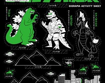 Godzilla Diorama Silkscreen Poster by Ian Glaubinger inspired by the Terror Mechagodzilla Toho