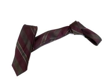 Vintage 1950s 1960s Mod Skinny SILK Neck Tie - Brown Burgundy Diagonal Stripes. Striped Tie Mid century modern Retro necktie menswear