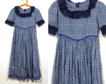 Vintage Girl's 1960s 1970s Blue Gold Plaid Maxi Dress. Colonial Little House on the Prairie Girl's DRESS Reenactment Cotton Size 6 7 8