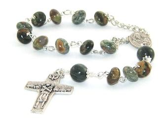Saint Joseph Pocket Rosary, Good Shepherd Cross, Jasper Gemstone Beads