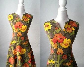20% OFF Vintage Dress, 1960s Dress, 60s Floral Dress, Retro 60s Dress, 1960s Linen Dress, Vintage Summer Dress, 60s Shift Dress, Orange Flor