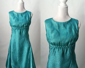 Vintage 1960s Teal Green Blue Sparkle Metallic Dress, Small to Medium
