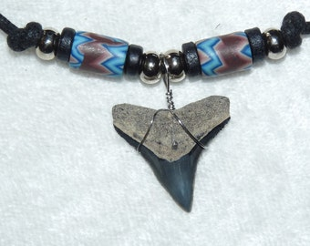 "Fossil bull shark tooth necklace with ""lightning"" beads and adjustable cord"