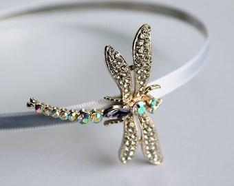 Crystal Dragonfly Bridal Headpiece, Rhinestone Sparkling Jewelry Headband, Black White Satin Wedding Hair Accessory