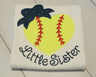 Softball Heart with Bow--Little Sister-- Applique Softball Shirt or bodysuit- Softball Sister Shirt