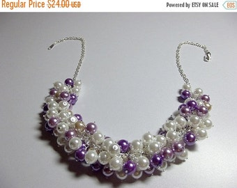 30% OFF SALE thru 2-28 Lilac Purple Beige Pearl Cluster Necklace, Mothers Day Gift, Mom Sister Grandmother Jewelry, Bridesmaid Wedding Neckl