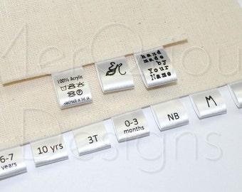 Custom Printed Sizes on White Satin ribbon. Custom Sizing label. Ribbon 5/8'' (1.5 cm)