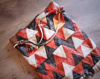 1980s Leather Patchwork Purse Triangle Graphic Throw Go Tote Fringe Womens Vintage Purse