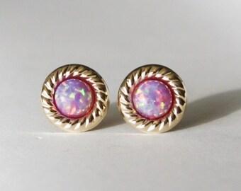 Gold Lavender opal stud earrings, 14K gold filled opal studs, Lavender opal earrings, Birthday earrings, Vintage inspired gifts, Purple opal