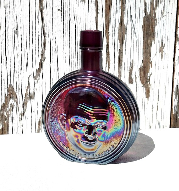 Vintage Wheaton Carnival Glass Collectible President Bottle - Dwight Eisenhower