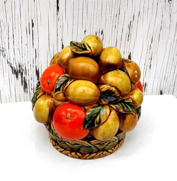 Vintage Inarco Fruit Bowl - Oranges and Lemons - Lidded Bowl