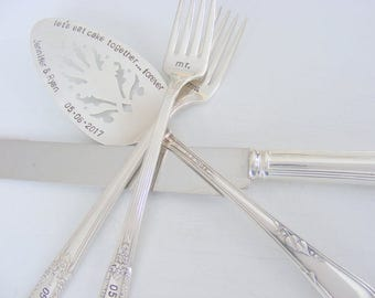 Wedding Cake Server Forks and Knife Set Wedding Cake Server And Forks Hand Stamped Wedding Cake Server and Forks
