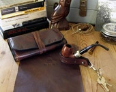 Signature Pipe & Tobacco Pouch * 1-2 pipes * Pipe Roll * leather pipe pouch* Made in USA