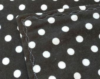 Black and Cream Polka Dot Receiving Blanket