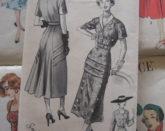 Vintage Sewing Pattern 1950s Womens Dress