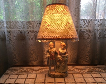 Vintage Dresser Lamp with cute couple in period clothing